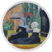 Breton Women With Umbrellas  Round Beach Towel