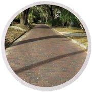 Brick Road In Palatka Florida Round Beach Towel