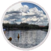 Buoys In The River Round Beach Towel
