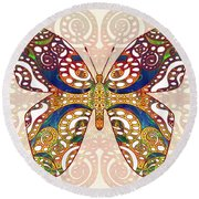 Butterfly Illustration - Transforming Rainbows  - Omaste Witkowski Round Beach Towel by Omaste Witkowski