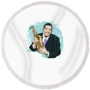Cannonball Adderley - An Illustration By Paul Cemmick Round Beach Towel