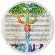 Certified Registered Nurse Anesthetist Gift Idea With Caduceus I Round Beach Towel