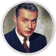 Charles Boyer, Vintage French Actor Round Beach Towel