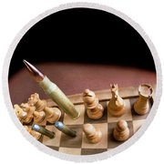 Chess Board And Bullets. Round Beach Towel