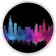 Chicago Skyline Watercolor 3 Round Beach Towel