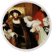 Christian II Signing The Death Warrant Of Torben Oxe  Round Beach Towel