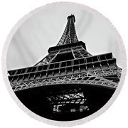 Close Up View Of The Eiffel Tower From Underneath  Round Beach Towel