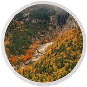 Crawford Notch Fall Foliage Round Beach Towel