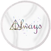 Deathly Hallows Always Round Beach Towel