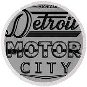 Detroit Motor City Round Beach Towel