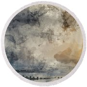 Digital Watercolor Painting Of Beautiful Dramatic Foggy Winter S Round Beach Towel