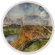 Digital Watercolor Painting Of Beautiful Landscape Image Of Hadr Round Beach Towel