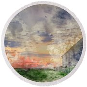 Digital Watercolor Painting Of Old Barn In Landscape At Sunset Round Beach Towel