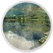 Digital Watercolor Painting Of Panorama Landscape Rowing Boats O Round Beach Towel