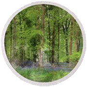 Digital Watercolor Painting Of Stunning Bluebell Forest Landscap Round Beach Towel