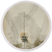 Digital Watercolor Painting Of Stunning Unplugged Fine Art Lands Round Beach Towel