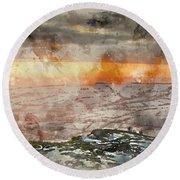 Digital Watercolor Painting Of Stunning Winter Panoramic Landsca Round Beach Towel