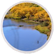 Distant Fisherman On The San Juan River In Fall Round Beach Towel