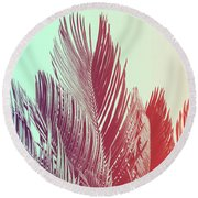 Duotone Background Of Tropical Palm Leaves Round Beach Towel