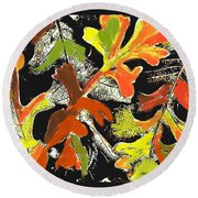 Fallen Leaves Round Beach Towel