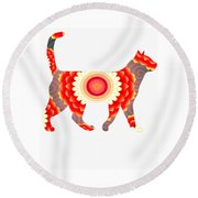 Fire Flower Cats Round Beach Towel