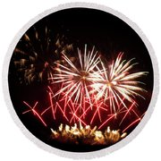 Firework Display Round Beach Towel