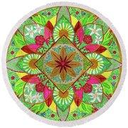 Flower Garden Mandala Round Beach Towel