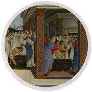 Four Scenes From The Early Life Of Saint Zenobius  Round Beach Towel