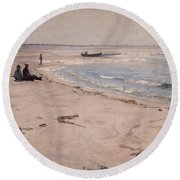 From The Beach At Sele  Round Beach Towel