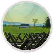 Gettysburg Battlefield Farm Round Beach Towel by Bill Cannon