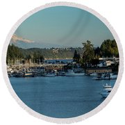 Gig Harbor Marina With Mount Rainier In The Background Round Beach Towel