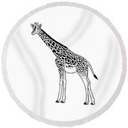Giraffe - Ink Illustration Round Beach Towel