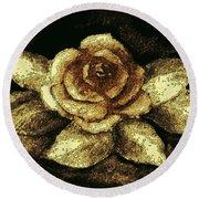Antique Gold Rose Round Beach Towel