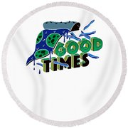 Good Old Times Pizza Fries Born In The 90s Husband Wife Round Beach Towel