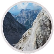 Grey Mountains Round Beach Towel