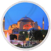Hagia Sophia At Night Istanbul Turkey  Round Beach Towel