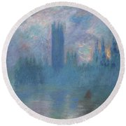 Houses Of Parliament, London Round Beach Towel