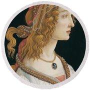 Portrait Of A Young Woman, Portrait Of Simonetta Vespucci As Nymph Round Beach Towel