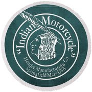 Indian Motorcycle Old Vintage Logo Green Background Round Beach Towel