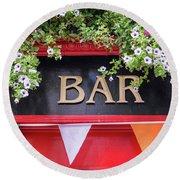 Irish Bar In Dublin Round Beach Towel