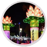 Large Lanterns In The Shape Of Lotus Flowers Round Beach Towel