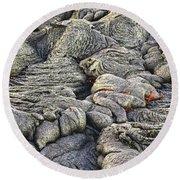 Lava Peeking At Us Round Beach Towel by Jim Thompson