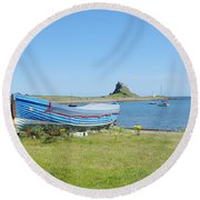 Lindisfarne Castle, Bay And Boat Round Beach Towel