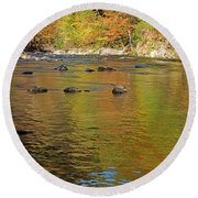 Little River In Autumn In Smoky Mountains National Park Round Beach Towel