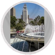 Los Angeles City Hall And Arthur J. Will Memorial Fountain Round Beach Towel