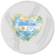 Love Argentina Round Beach Towel