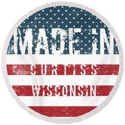 Made In Curtiss, Wisconsin Round Beach Towel