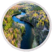 Manistee River From Above In Spring Round Beach Towel