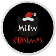 Meow Christmas Distressed Round Beach Towel