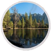 Merced River Reflection, Yosemite National Park Round Beach Towel